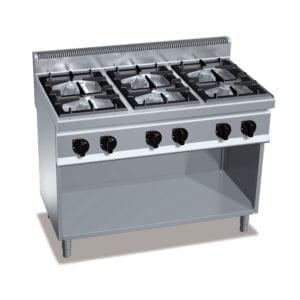 Cuisinière gaz 6 brûleurs (33.5kW) sur pieds