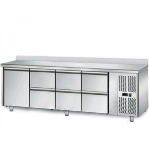 Table réfrigérée 700 / 1 porte + 6 tiroirs adossés