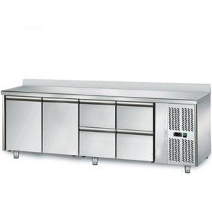 Table réfrigérée 700 / 2 portes + 4 tiroirs adossés