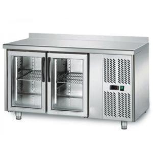 Table réfrigérée 700 vitrée / 2 portes adossées