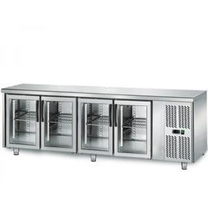 Table réfrigérée 700 vitrée / 4 portes