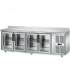 Table réfrigérée 700 vitrée / 4 portes adossées