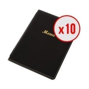 10 x Porte-menus en simili cuir - Noir - A5