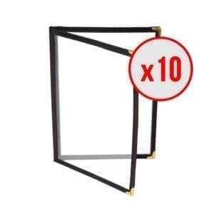 10 x Porte-menus Noir - Style américain - 4 VUES A4