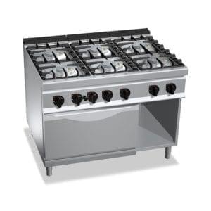 Cuisinière gaz 6 brûleurs puissants (48kW) sur four électrique puissant (7.5kW) et compartiment neutre
