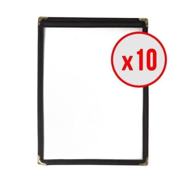 10 x Porte-menus Noir - Style américain - 2 VUES A5