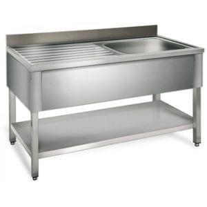 Table de rinçage égouttoir G / 1200 mm 1 évier prof.700