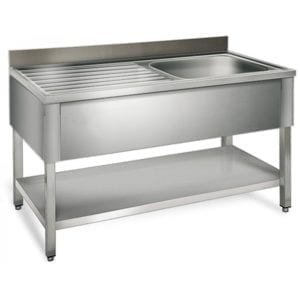 Table de rinçage égouttoir G / 1200 mm 1 évier prof.600
