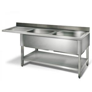 Table lave-vaisselle 2 éviers prof.600 - égouttoir G / 2000 mm